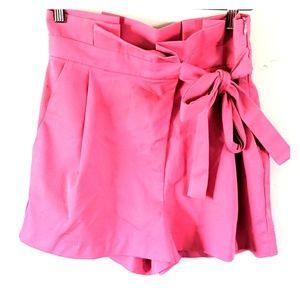 Zara high waisted ruffled side tie shorts